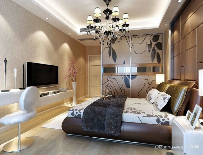 两居欧式风格卧室电视背景墙装饰效果图
