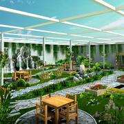 现代风格小区大型公共庭院装修效果图