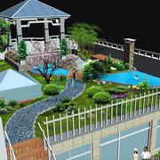 中式风格大型屋顶带凉亭庭院装修效果图