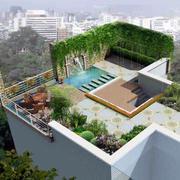 现代简约风格小区顶层庭院设计效果图