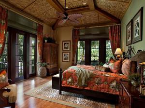 两室一厅东南亚风格原木卧室装修效果图