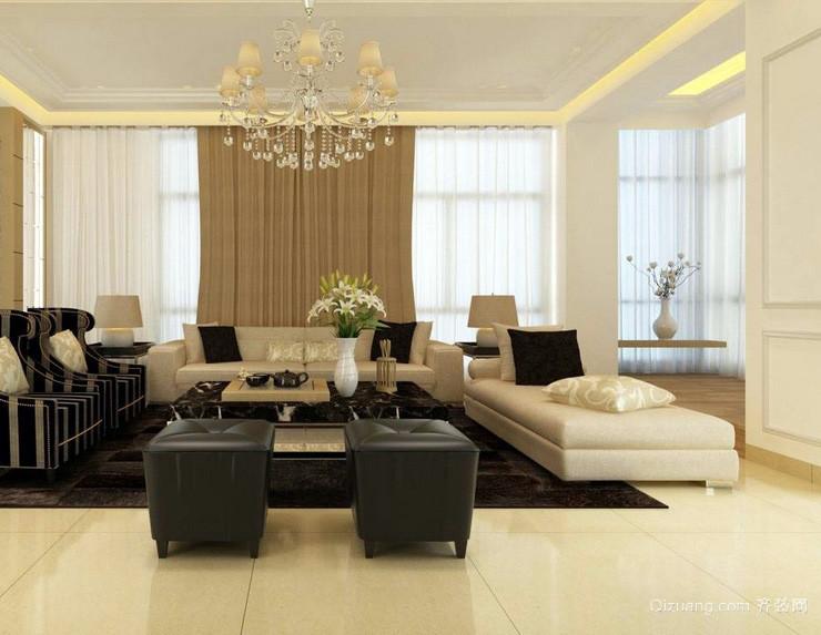 米黄色客厅大理石地板装修效果贴图