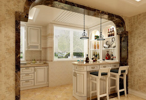 简欧式厨房小吧台装修设计效果图