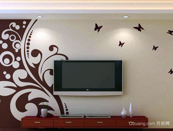 中式简约深色系客厅硅藻泥电视背景墙装饰