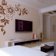 两室一厅现代化简约硅藻泥电视背景墙装饰