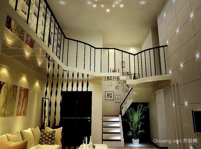 后现代风格深色系复式楼客厅装修效果图