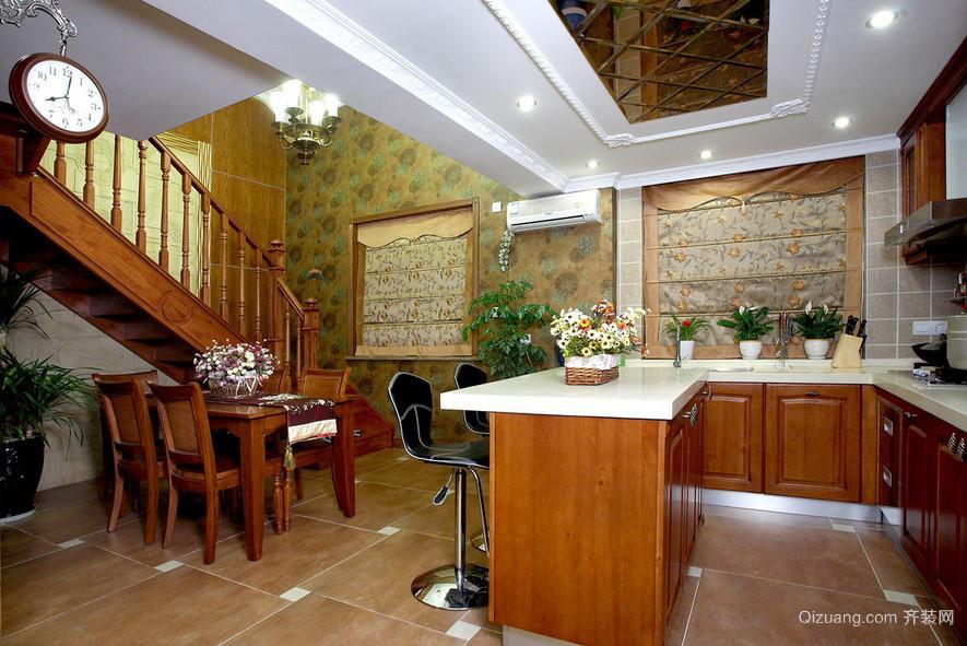 现代美式厨房吧台装修设计效果图