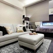 单身公寓简约风格客厅沙发背景墙装饰