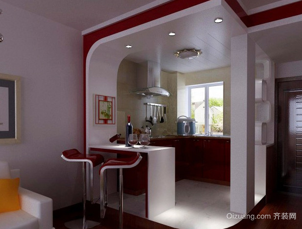 现代简约风格婚房客厅吧台装修效果图