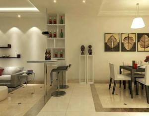 小户型简约东南亚风格浅色系客厅吧台装饰