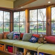 美式别墅飘窗储物柜装修效果图片