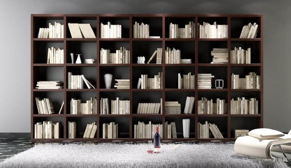跃层唯美型书柜设计效果图