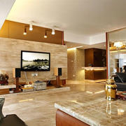 大户型别墅客厅大理石电视背景墙贴图