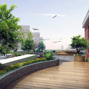 现代别墅型精致的屋顶花园设计效果图