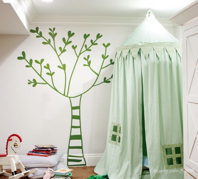 大户型儿童房绿色墙贴纸装修效果图