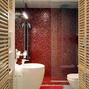 复式楼卫生间红色墙面