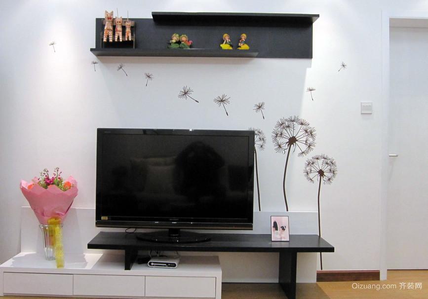 简约客厅电视背景墙贴纸装修效果图
