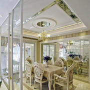 法式浅色系餐厅吊顶装饰