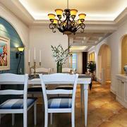 地中海风格简约餐厅石膏板吊顶装饰