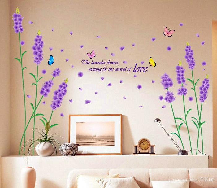 现代沙发背景薰衣草墙贴纸装修效果图