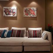 90平米客厅混搭风格沙发背景墙装饰图