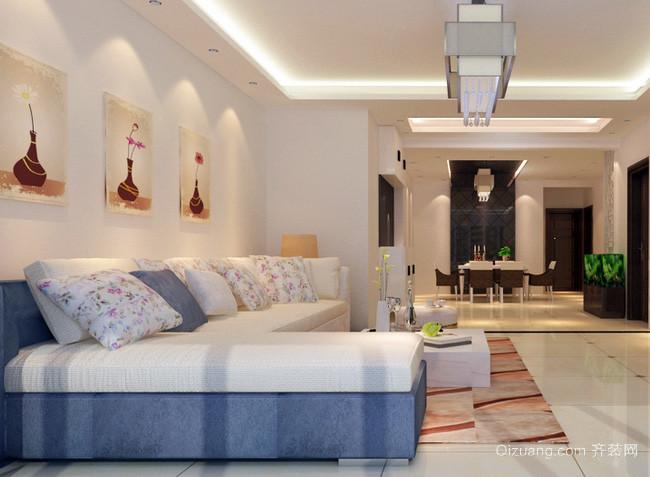 现代简约风格清新客厅沙发背景墙装饰