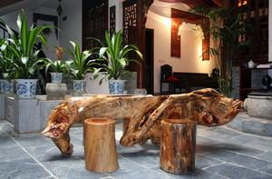 中式四合院庭院根雕茶几装修效果图片