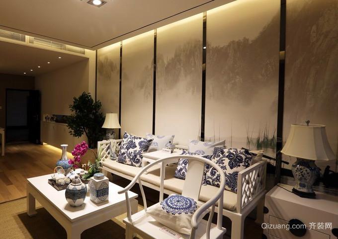 90平米中式简约风格山水沙发背景墙装饰