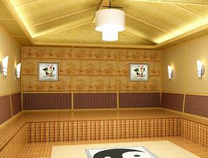 简约小型纯原木韩式清新风格汗蒸房装饰