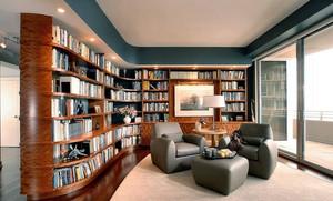 公寓开放式书房别致书柜装修设计效果图