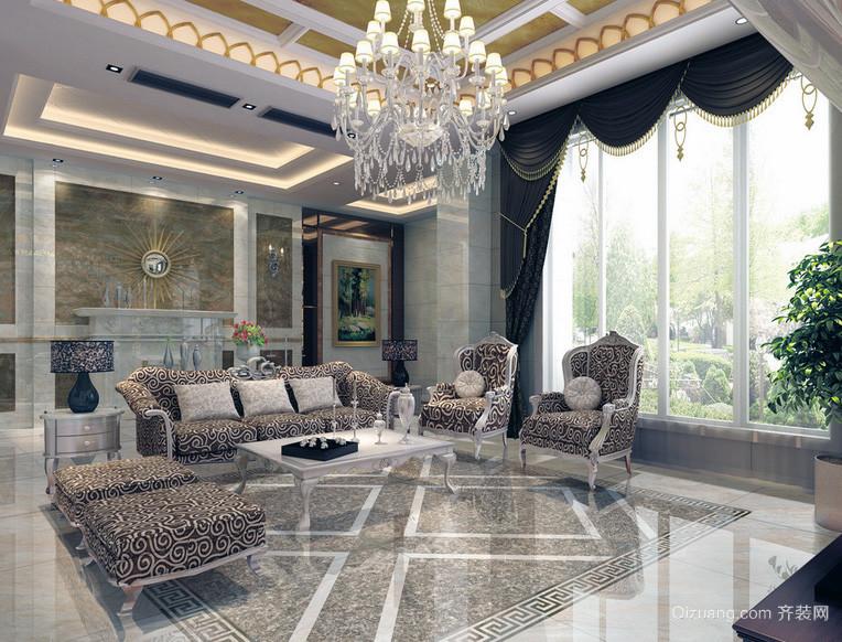时尚欧式大户型客厅装修效果图