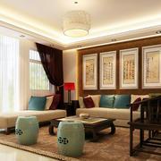 120平米客厅中式古典客厅沙发背景墙装饰