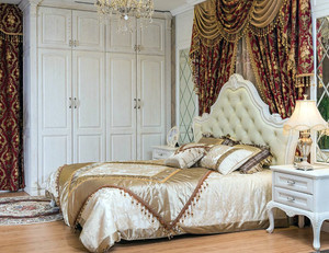 别墅欧式奢华风格卧室整体实木衣柜装修效果图