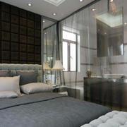 大户型主卧室玻璃隔断墙设计装修效果图