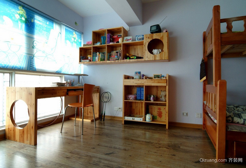 大户型儿童房实木书柜设计装修效果图