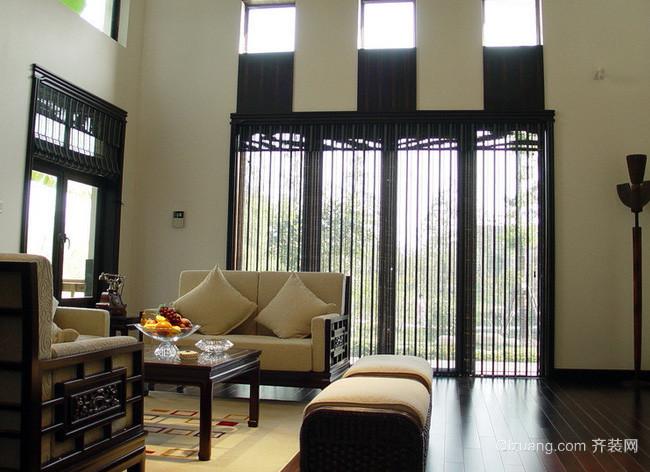 新中式风格高挑复式楼客厅样板间装修效果图