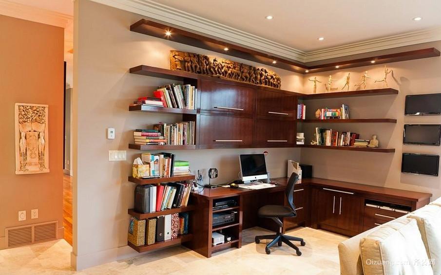 家居简约书房实木书柜装修设计效果图
