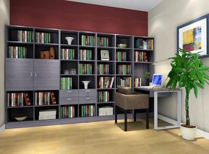 大户型书房简约书柜设计装修效果图