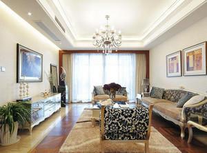 两室一厅欧式风格客厅样板房装修效果图
