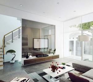 现代复式楼客厅电视背景玻璃隔断墙设计图
