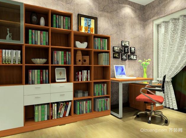 简约风格复式楼沙发开放式书柜装修图
