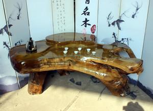 中式简约风格复式楼客厅根雕茶几装修效果图