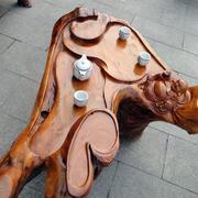 中式简约客厅原木根雕茶几装修效果图