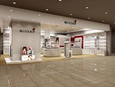 欧式简约风格化妆品店柜台装饰效果图