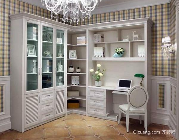 欧式田园风格书房书柜装修效果图