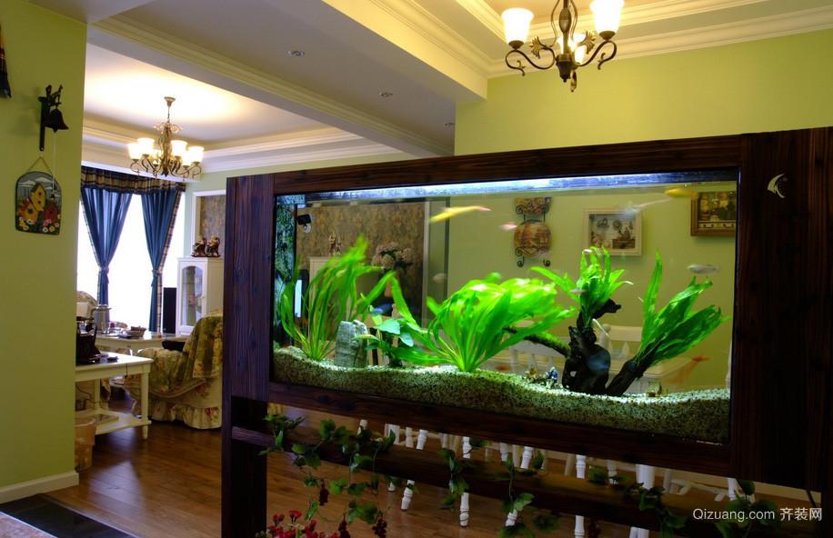 田园大户型玄关鱼缸造景装修效果图片
