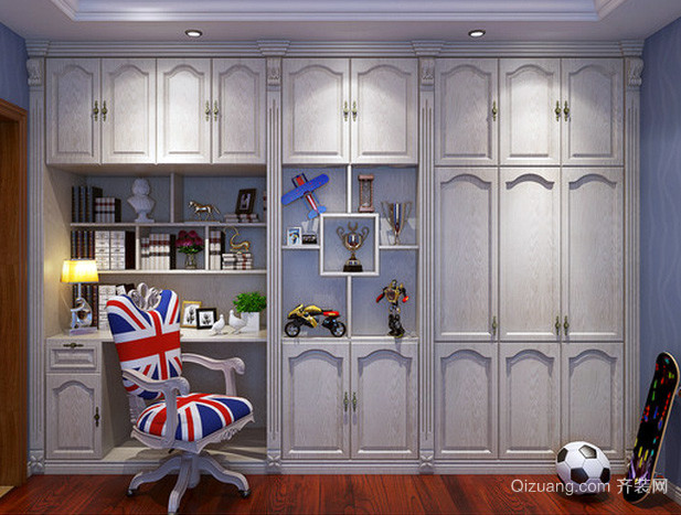别墅欧式奢华整体式带电脑桌书柜装饰