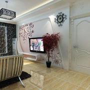 简欧100平米客厅电视背景墙装修效果图