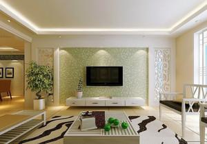 田园简约客厅液体壁纸电视背景墙效果图