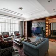 大户型客厅电视瓷砖背景墙装修效果图